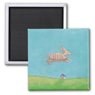 Flying Armadillo original painting fun art Square Magnet
