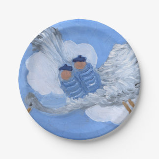 Flying Babies and Stork Paper Plates 7 Inch Paper Plate
