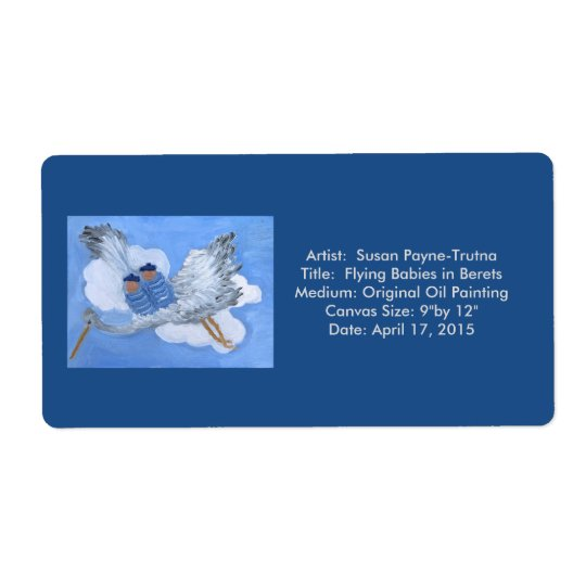 Flying Babies in Berets Label:Susan Payne-Trutna Shipping Label