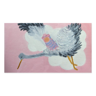Flying Baby Girl and Stork Business Card