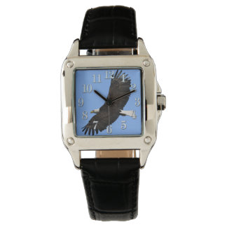Flying Bald Eagle and Blue Sky Wildlife Wristwatch
