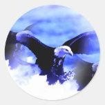 Flying Bald Eagle Round Sticker