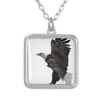 Flying Bald Eagle Silver Plated Necklace