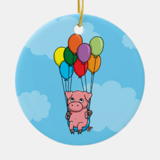 Flying Balloon Pig Round Ceramic Decoration