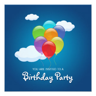 Flying Balloons Birthday Party invitation