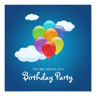 "Flying Balloons Birthday Party invitation 5.25"" Square Invitation Card"