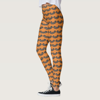 Flying Bats Black Orange Happy Halloween Print Leggings
