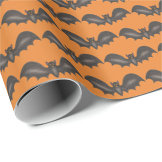 Flying Bats Black Orange Happy Halloween Print Wrapping Paper