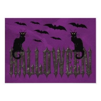 Flying Bats & Spooky Cats Halloween Card