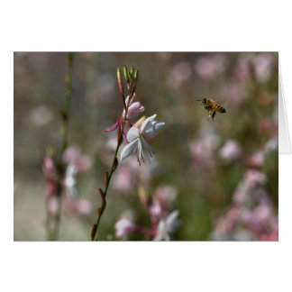 Flying Bee to flowers Greeting Card