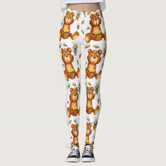 Flying Bees With A Honey Bear Leggings