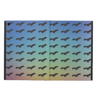 Flying Bird Black Silhouette Pattern & Colorful BG iPad Air Cover