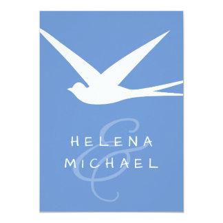 Flying Bird Elegant Blue & White Summer Wedding 13 Cm X 18 Cm Invitation Card