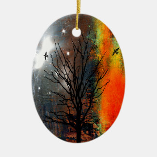 Flying Birds and Starry Sky Landscape Ceramic Ornament