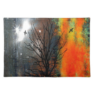 Flying Birds and Starry Sky Landscape Placemat