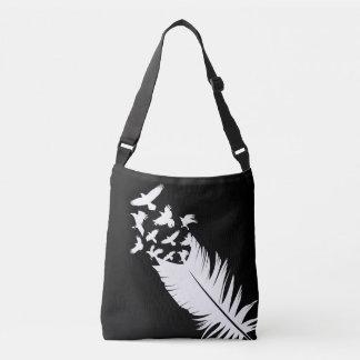 Flying Birds, Black and White Crossbody Bag