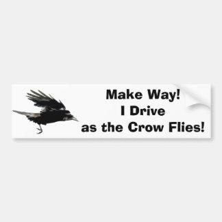 Flying Black Crow Wildlife Art Bumper Sticker