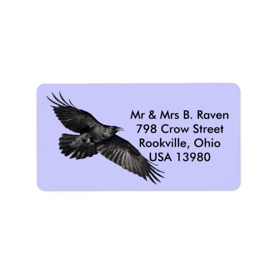 Flying Black Raven Bird-lover Labels