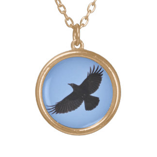 Flying Black Raven Corvid Crow-lover Photo Design Gold Plated Necklace