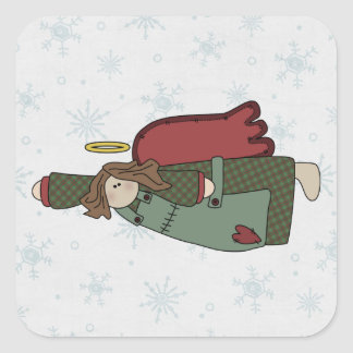Flying Brown Hair Angel Square Sticker