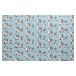 Flying Bull Terriers Fabric