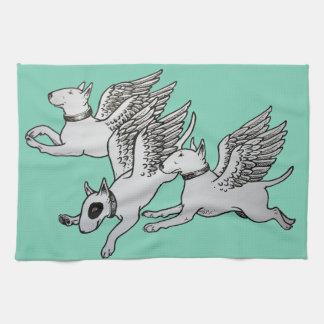 Flying Bull Terriers Tea Towel