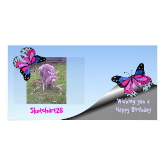 Flying Butterfly Customized Photo Card
