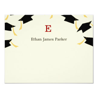 """Flying Caps Graduation Thank You Cards 4.25"""" X 5.5"""" Invitation Card"""