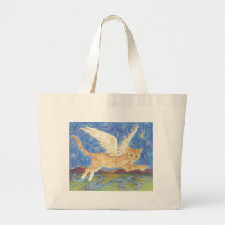Flying cat starry starry night tote