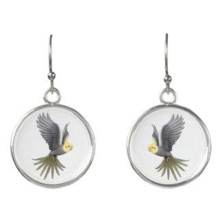 Flying Cockatiel Parrot Drop Earrings