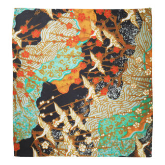 FLYING CRANES AND SPRING FLOWERS Japanese Floral Bandana