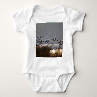 Flying cranes baby bodysuit