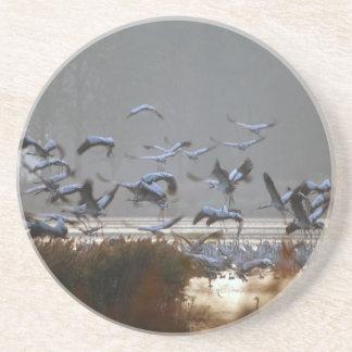 Flying cranes beverage coasters