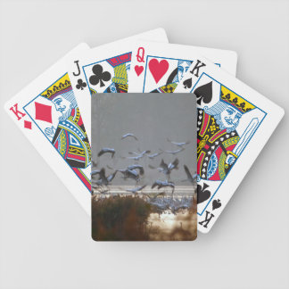 Flying cranes bicycle playing cards