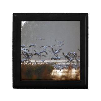 Flying cranes on a lake gift box