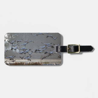 Flying cranes on a lake luggage tag