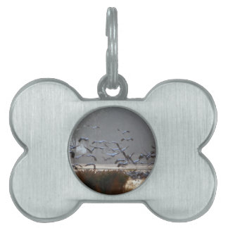 Flying cranes on a lake pet name tag