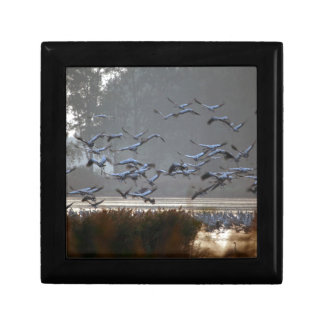 Flying cranes on a lake small square gift box