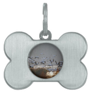 Flying cranes pet name tag