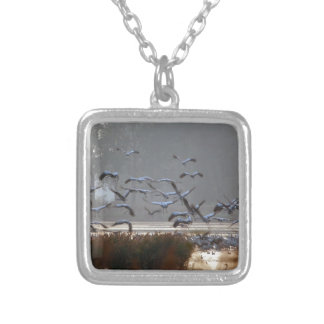 Flying cranes silver plated necklace