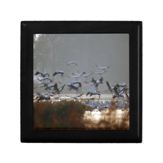 Flying cranes small square gift box