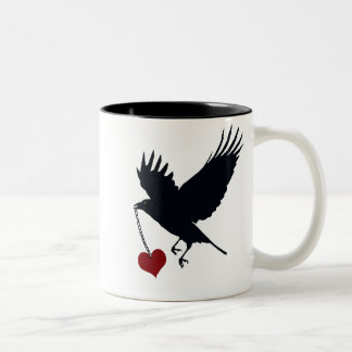 Flying Crow With Stolen Heart Two-Tone Coffee Mug