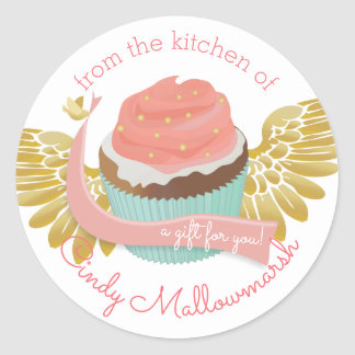 Flying cupcake angel wings from the kitchen of round sticker