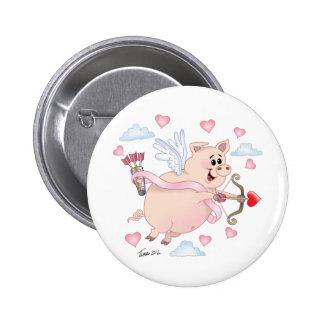 Flying Cupid Piggy Valentine s Day Button