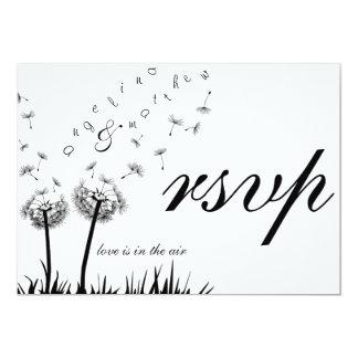 flying dandelions rsvp invitation card