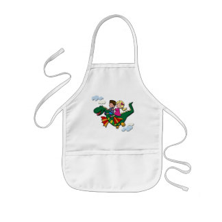 Flying Dino with Kids Aprons