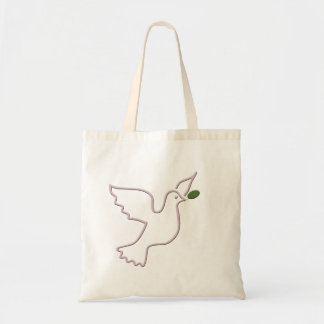 Flying dove and green leaf budget tote bag