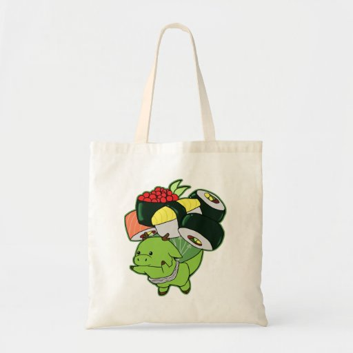 Flying dragon with sushi balloons tote canvas bag