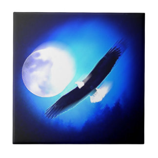 Flying Eagle & Moon Ceramic Tile