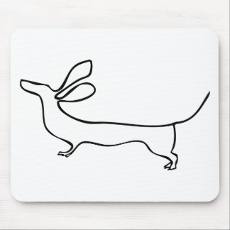 Flying ears Dachshund one line illustration Mouse Pad
